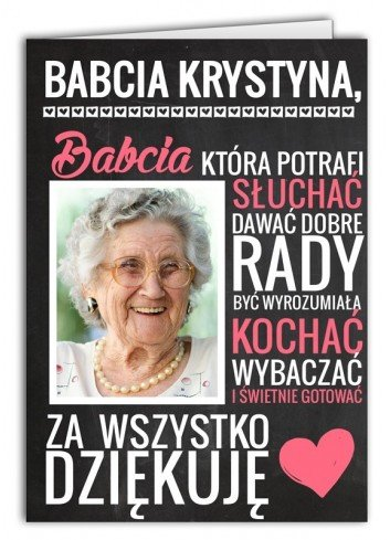Kartka Za co kocham Babcię