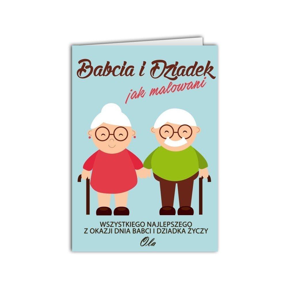 Kartka Babcia i Dziadek jak malowani.