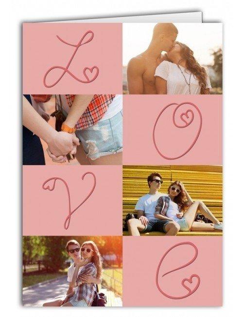 Kartka Miłosny kolaż LOVE