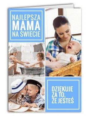 Kartka Kolaż Niebieski na 3 zdjęcia